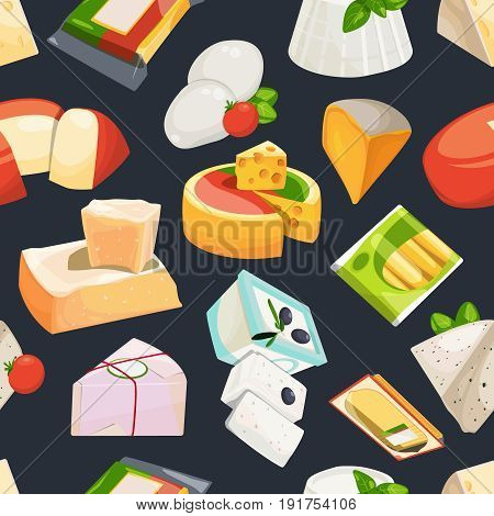 Different grades of cheeses. Vector seamless pattern in cartoon style. Cheese product pattern, background with collection of organic cheese illustration