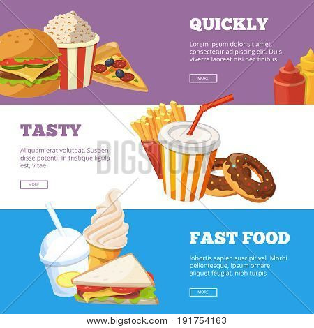 Three horizontal banners of fast food vector illustrations with burger, sandwich, ice cream and cold drinks. Picture in cartoon style fast food tasty and quickly