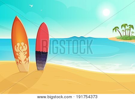 Surfboards in different colors. Sea and sand beach. Vector summer background illustration. Holiday sea summer with colored surfboard