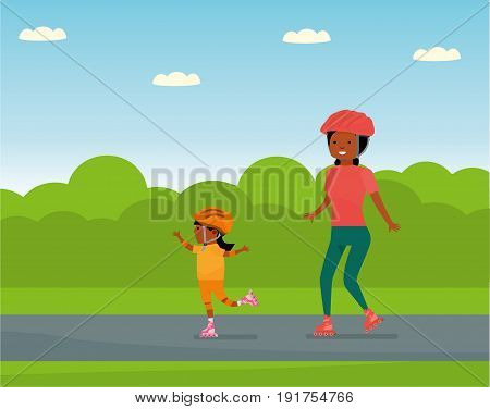 Family leisure. Family in the amusement Park. Family - mother and daughter roller skating. African American people. Vector illustration in a flat cartoon style