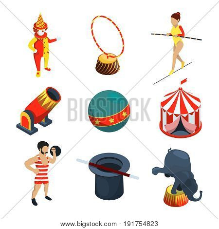 Circus icon set. People, animals, magician show clowns and other vector illustration in cartoon style. Clown and animal, acrobat performance
