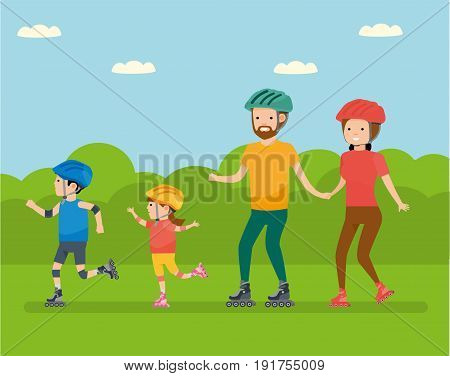 Family leisure. Family in the amusement Park Family - mom, dad, son and daughter, roller skating. Vector illustration in a flat cartoon style