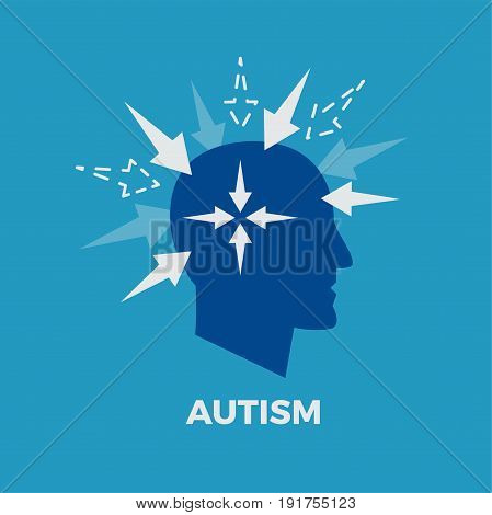 Autism. Concept vector illustration on blue background