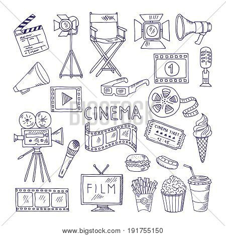 Cinematography doodle set. Video movie entertainment icons. Video cinema multimedia, movie film illustration