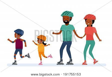 Family leisure. Family - mom, dad, son and daughter, roller skating. African American people. Vector illustration in a flat cartoon style