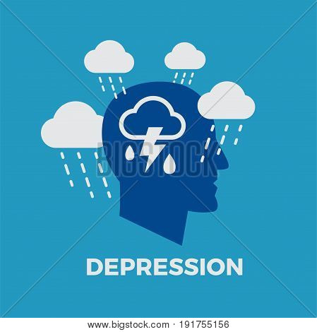 Depression. Concept vector illustration on blue background
