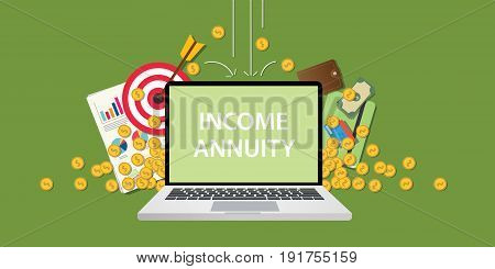 income annuity illustration with text on laptop display with business icon money gold coin falling from sky and graph paperwork document and goals vector