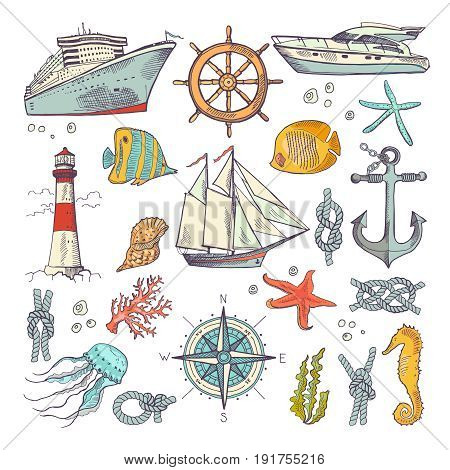 Marine coloring doodle set with different nautical elements, compass and lighthouse. Underwater animals vector set. Nautical sailboat and node of rope illustration