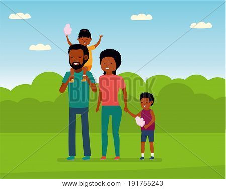 Family leisure. African family in the amusement Park. Family walks in the Park, children eating cotton candy. African American people. Vector illustration in a flat cartoon style