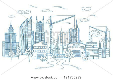 Big city landscape with different buildings. Vector hand drawn illustration. Sketch drawing architecture town with tall buildings graphic