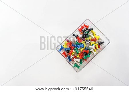 isolated colorful thumbtack for business purpose in white background
