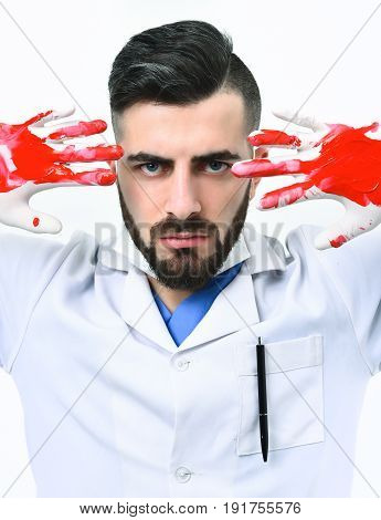 Doctor In White Coat Shows Blood On His Hands