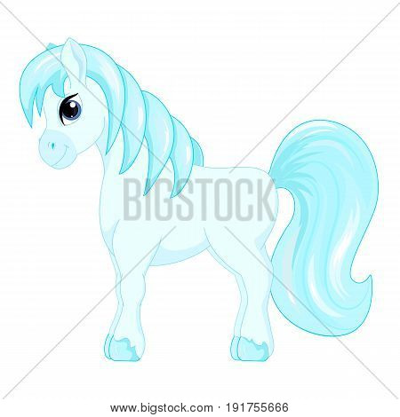 Cute cartoon little blue horse blue hair decorate symbol vector illustration isolated on white.