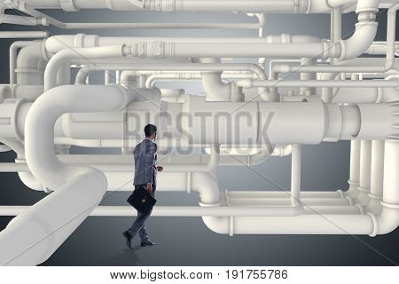 Businessman and piping at the plan