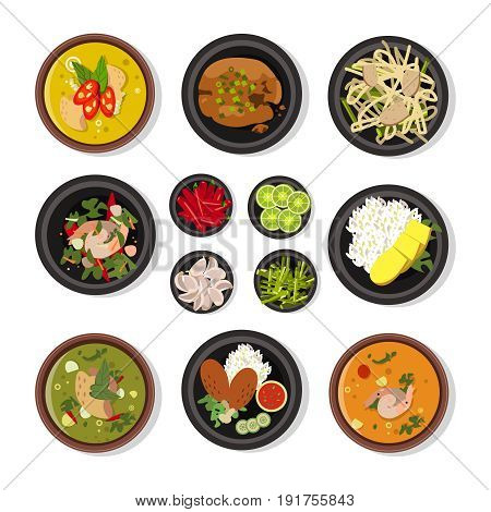 Vector illustrations of thai food. Vector icons pack isolate on white. Thai cuisine restaurant, collection of traditional thailand menu