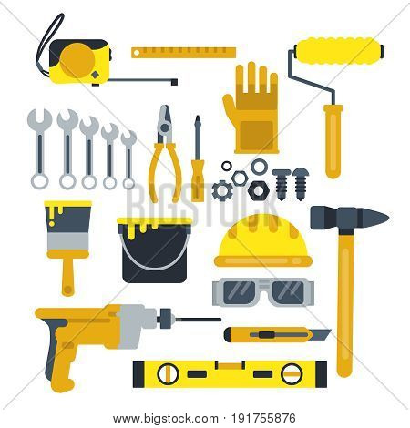 Building or repair tools, work helmet, hammer, paint gloves and other industrial vector icons set. Tools for construction, helmet and drill illustration