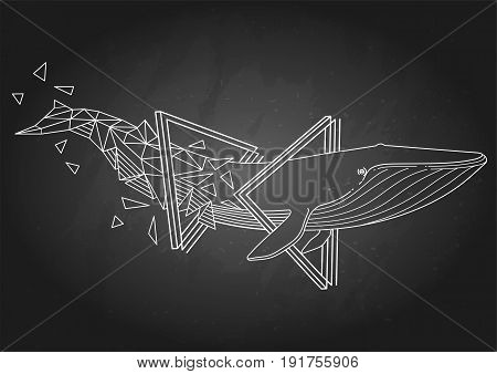 Graphic blue whale swiming through the triangular shapes. Giant sea and ocean creature isolated on the chalkboard