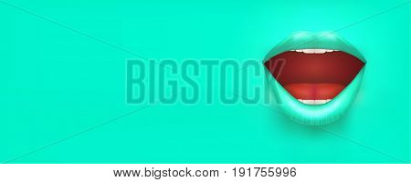 Horizontal Banner with woman lips. Female mouth on turqoise Background. Party Invitation and flyers. Sexual woman. Vector Illustration.