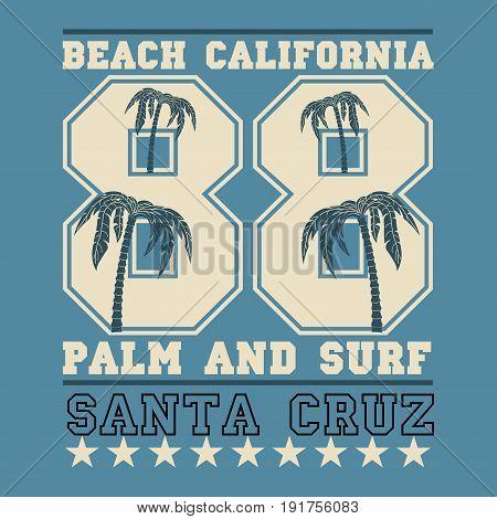 Surfing California surfing santa Cruz water sports T-shirt inscription typography graphic design emblem