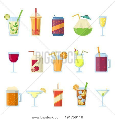 Different drinks in bottles and glasses. Vector set isolate on white. Drink glass and alcohol beverage collection illustration
