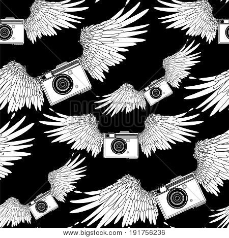 Graphic vintage camera with two wings. Vector seamless pattern. Coloring book page design for adults and kids.