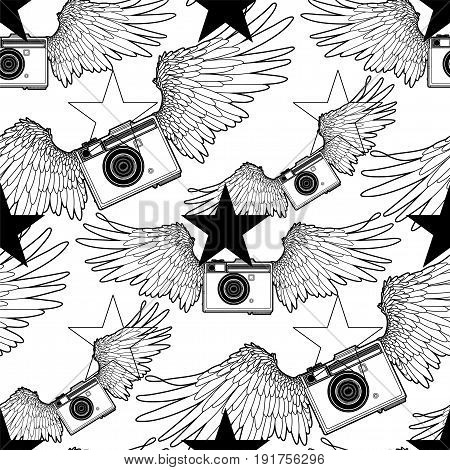 Graphic vintage camera with two wings and stars. Vector seamless pattern. Coloring book page design for adults and kids.