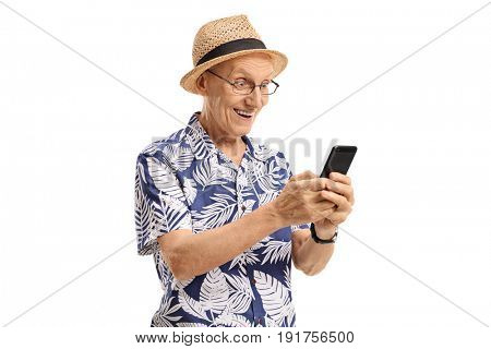 Surprised elderly tourist using a phone isolated on white background