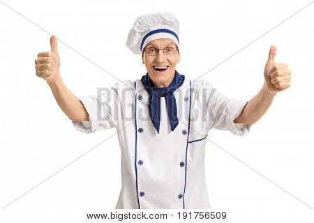 Overjoyed chef giving holding his thumbs up isolated on white background