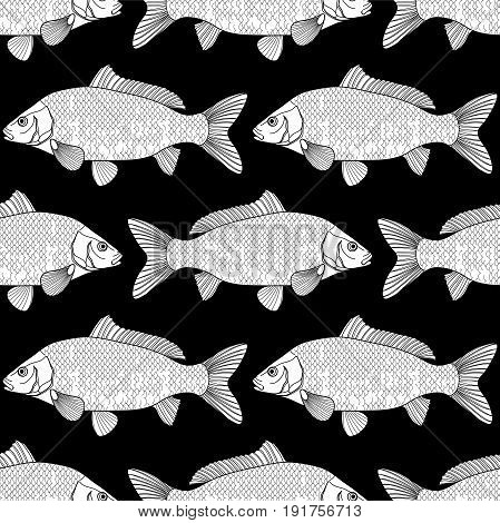Graphic carp seamless pattern. Sea and ocean vector creatures. Coloring page design