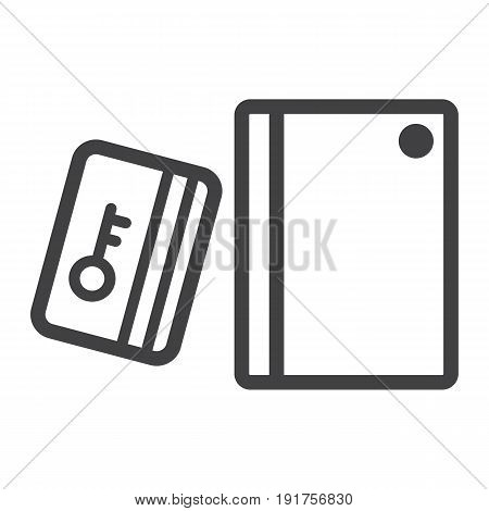 Swipe Card Reader With Keypad line icon, security access and electronic lock, vector graphics a linear pattern on a white background, eps 10.