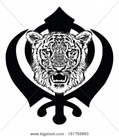 Tiger head with fangs and the main symbol of Sikhism - sign Khanda.  Black And White, isolated, vector