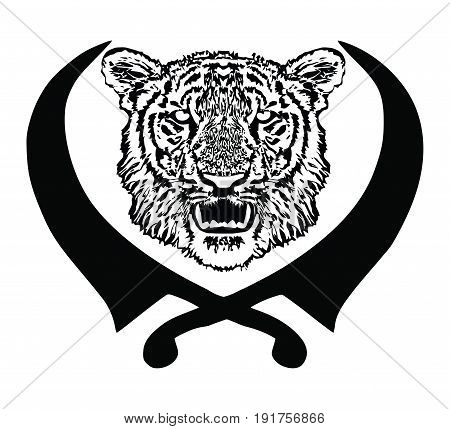 Tiger head with fangs and sikhs crossed swords,  isolated, vector