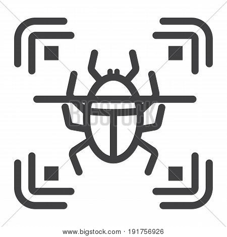Virus scan line icon, security and antivurus, vector graphics, a linear pattern on a white background, eps 10.