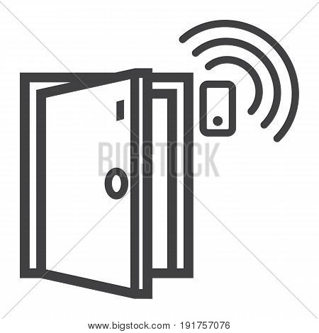 Door sensor line icon, security and alarm, vector graphics, a linear pattern on a white background, eps 10.