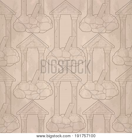 Graphic half-ruined architecture with column drawn in line art style. Vector seamless pattern