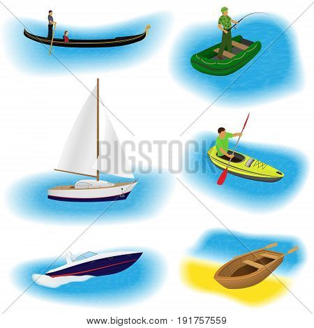 Set of six different kind boats isolated on a white background. Sail yacht gondola inflatable fishing boat kayak motorboat and rowing boat collection. Flat vector illustration.