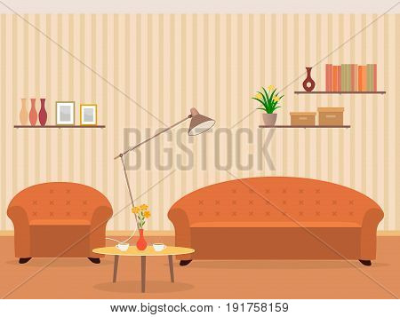 Interior of living room design in flat style with furniture armchair sofa lamp bookshelf hot coffee and flowers on a table. Vector illustration.
