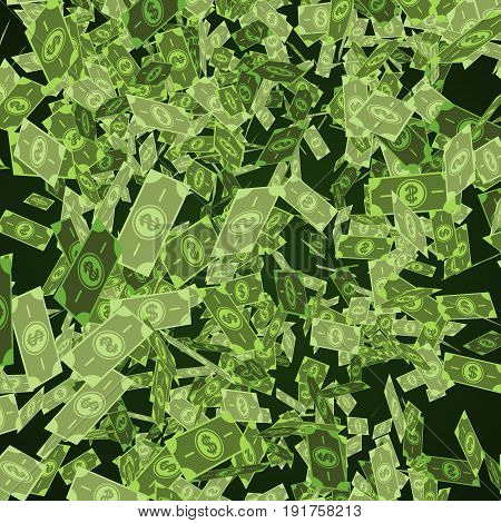 Dollar bills falling through air. 3d render illustration business background.