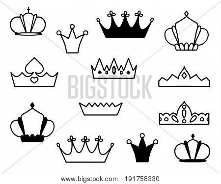 Crowns vector isolated silhouette illustration sketch icon
