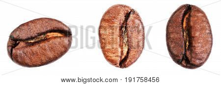 Coffee beans set Isolated on white background closeup extreme macro