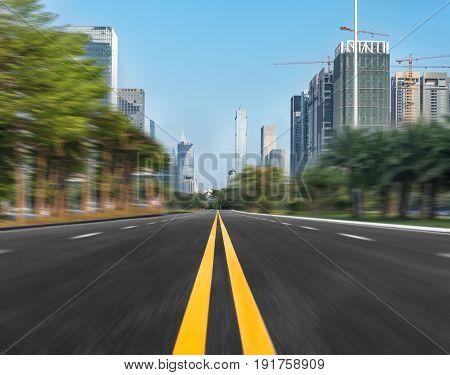 Empty urban asphalt street,shot in Shanghai,China .