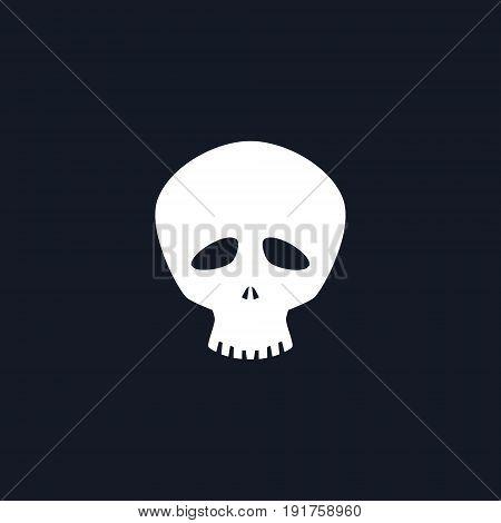 White Funny Skull Isolated, Silhouette Skull on Black Background , Death s-head, Black and White Vector Illustration