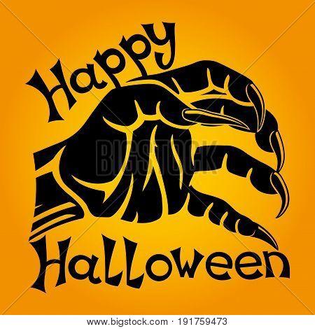 Halloween sign with werewolf's hand on an orange background.