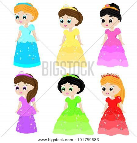 Cute kawaii fairy tale princess in colorful dresses. Girls in queen costumes. Cartoon characters collection. vector illustration
