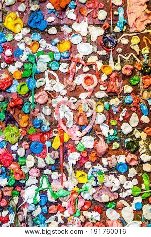 Used Bubblegum on a Wall in Seattle
