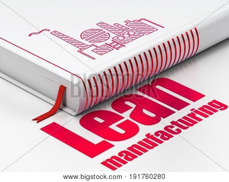 Industry concept: closed book with Red Oil And Gas Indusry icon and text Lean Manufacturing on floor, white background, 3D rendering