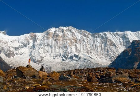 Snow Mountain Landscape in Himalaya and climber graves in Annapurna Base Camp, Nepal.
