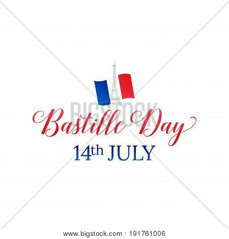 Bastille Day. 14 July. French flag and typography