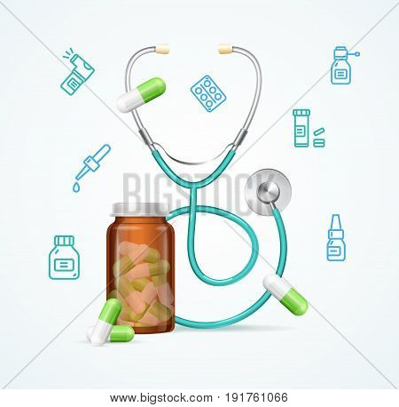 Pharmacy Concept with Pills Capsules in Medical Glass Bottle and Stethoscope Concept Diagnostic or Treatment. Vector illustration