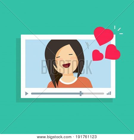 Online video communication with girlfriend vector illustration, remote dating love concept, flat cartoon distance relationship internet video call chat with happy girl